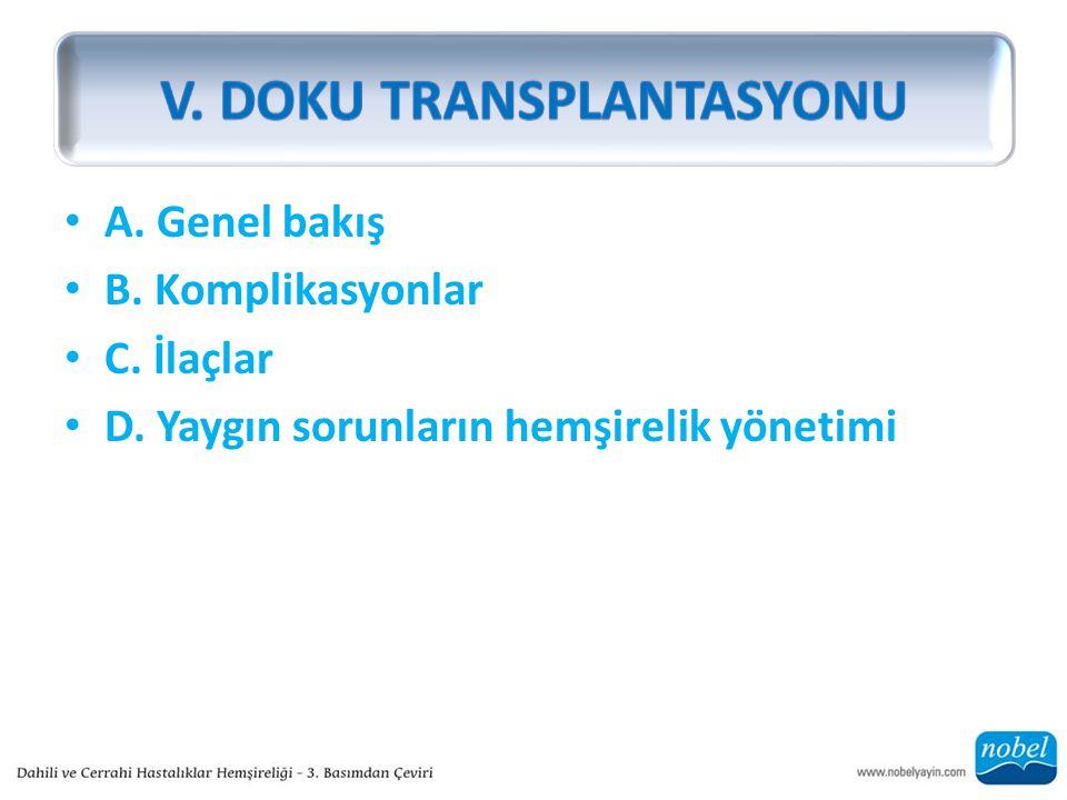 A. Genel bakış B. Komplikasyonlar C. İlaçlar D. Yaygın sorunların hemşirelik yönetimi