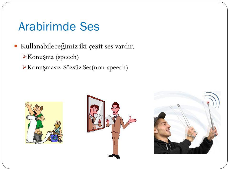 Arabirimde Ses Kullanabilece ğ imiz iki çe ş it ses vardır.  Konu ş ma (speech)  Konu ş masız-Sözsüz Ses(non-speech)