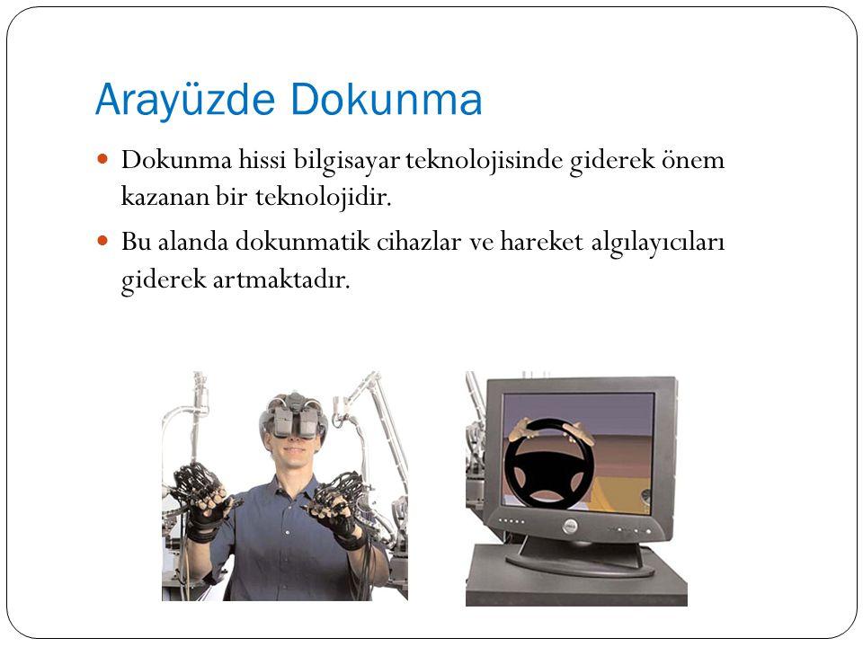 Arayüzde Dokunma Dokunma hissi bilgisayar teknolojisinde giderek önem kazanan bir teknolojidir. Bu alanda dokunmatik cihazlar ve hareket algılayıcılar