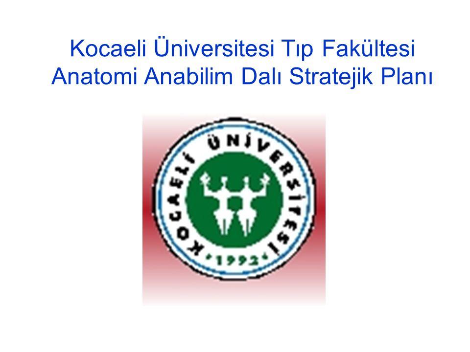 Kocaeli Üniversitesi Tıp Fakültesi Anatomi Anabilim Dalı Stratejik Plan Formatı Misyon Paydaşlar Değerler Mevcut durum analizi Performans göstergeleri Öz değerlendirme -Güçlü yanlar -Zayıf yanlar -Fırsatlar -Tehditler Vizyon Stratejik amaçlar ( Hedefler ve performans ölçütünü içerek şekilde): –Eğitim ve öğretim süreçleri –Uygulama ve hizmet süreçleri –Araştırma ve geliştirme süreçleri –Yönetim süreçleri