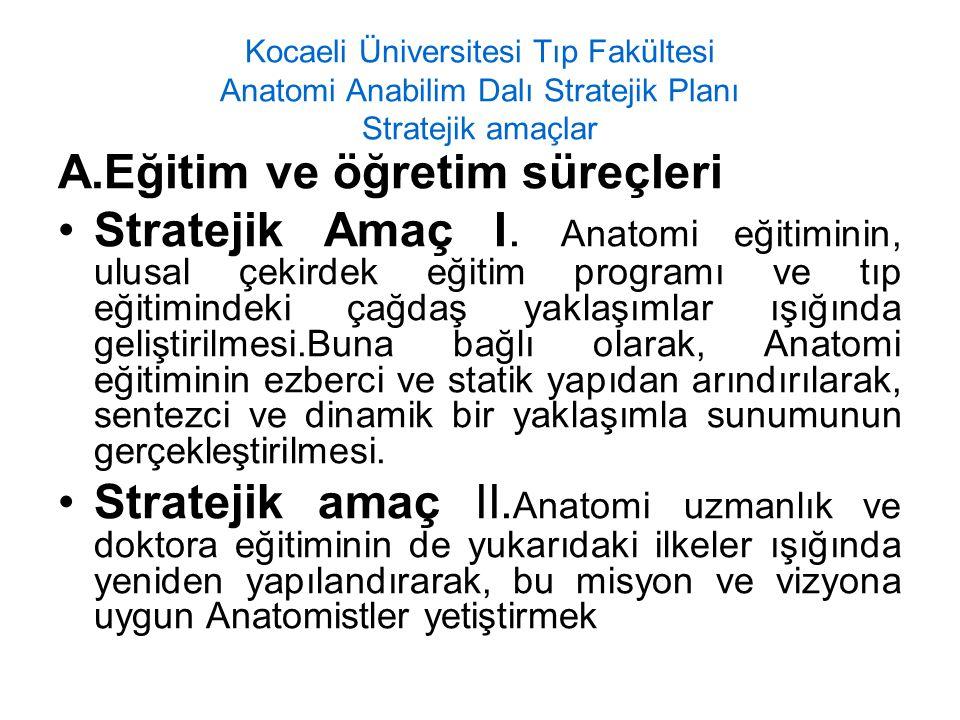 Kocaeli Üniversitesi Tıp Fakültesi Anatomi Anabilim Dalı Stratejik Planı Stratejik amaçlar A.Eğitim ve öğretim süreçleri Stratejik Amaç I. Anatomi eği