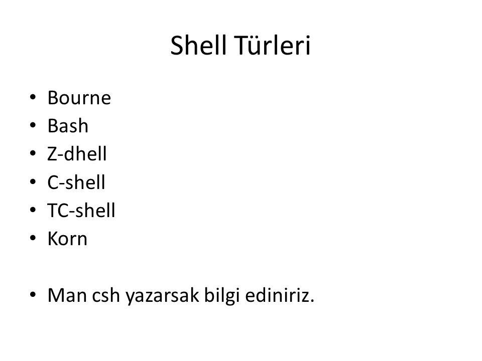 Shell Türleri Bourne Bash Z-dhell C-shell TC-shell Korn Man csh yazarsak bilgi ediniriz.
