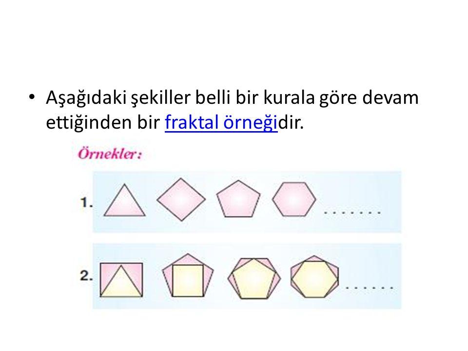 Aşağıdaki şekiller belli bir kurala göre devam ettiğinden bir fraktal örneğidir.fraktal örneği