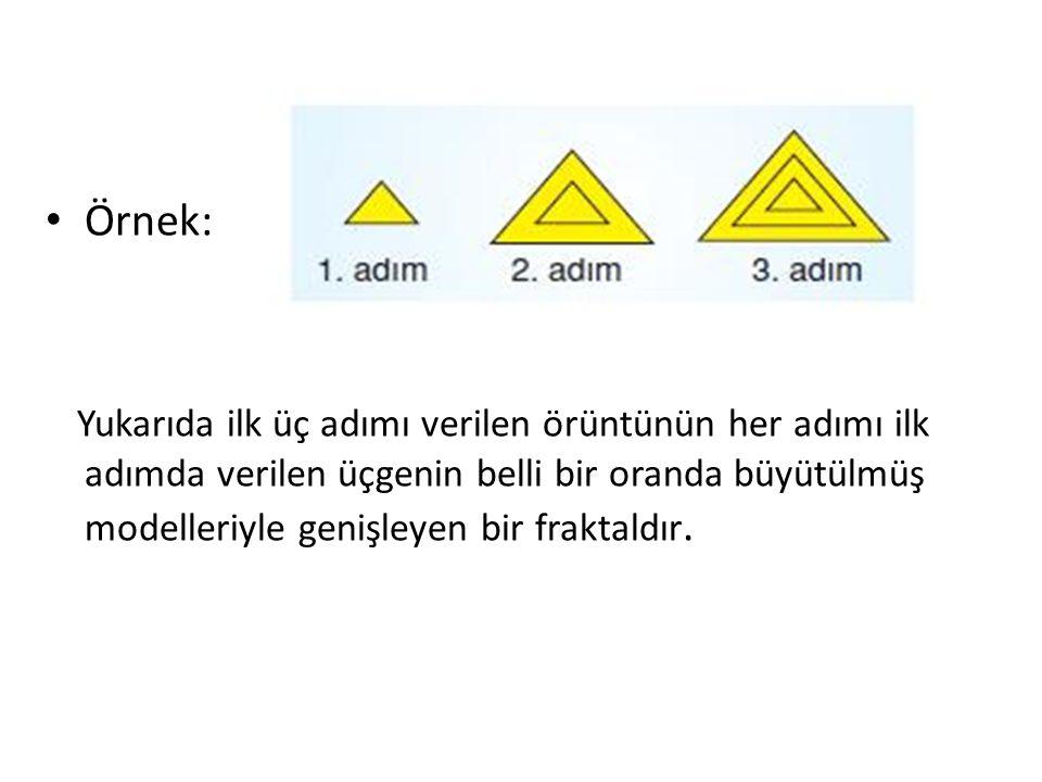Örnek: Yukarıda ilk üç adımı verilen örüntünün her adımı ilk adımda verilen üçgenin belli bir oranda büyütülmüş modelleriyle genişleyen bir fraktaldır.