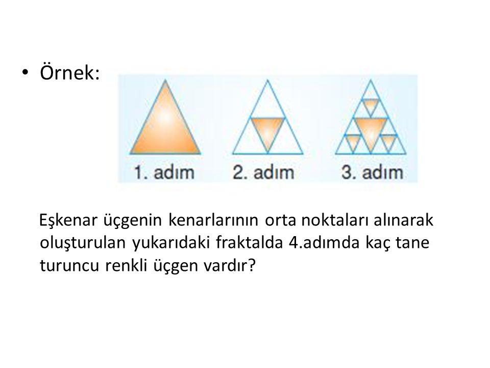 Örnek: Eşkenar üçgenin kenarlarının orta noktaları alınarak oluşturulan yukarıdaki fraktalda 4.adımda kaç tane turuncu renkli üçgen vardır?