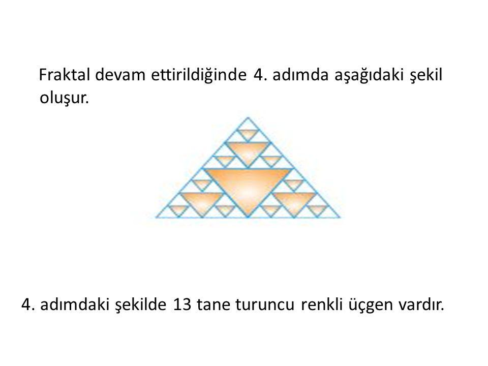 Fraktal devam ettirildiğinde 4. adımda aşağıdaki şekil oluşur. 4. adımdaki şekilde 13 tane turuncu renkli üçgen vardır.
