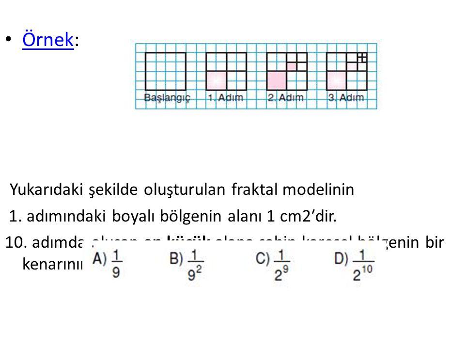 Örnek: Örnek Yukarıdaki şekilde oluşturulan fraktal modelinin 1. adımındaki boyalı bölgenin alanı 1 cm2′dir. 10. adımda oluşan en küçük alana sahip ka