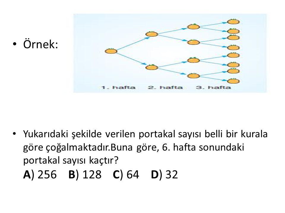 Örnek: Yukarıdaki şekilde verilen portakal sayısı belli bir kurala göre çoğalmaktadır.Buna göre, 6. hafta sonundaki portakal sayısı kaçtır? A) 256 B)