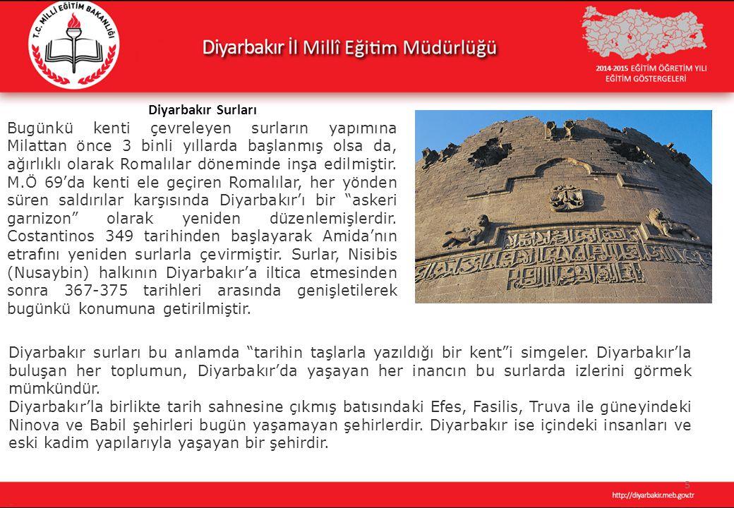 5 Diyarbakır Surları Bugünkü kenti çevreleyen surların yapımına Milattan önce 3 binli yıllarda başlanmış olsa da, ağırlıklı olarak Romalılar döneminde inşa edilmiştir.