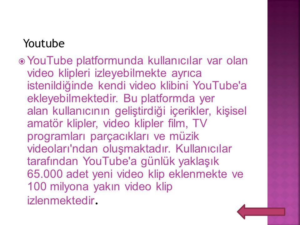 Youtube  YouTube platformunda kullanıcılar var olan video klipleri izleyebilmekte ayrıca istenildiğinde kendi video klibini YouTube'a ekleyebilmekted