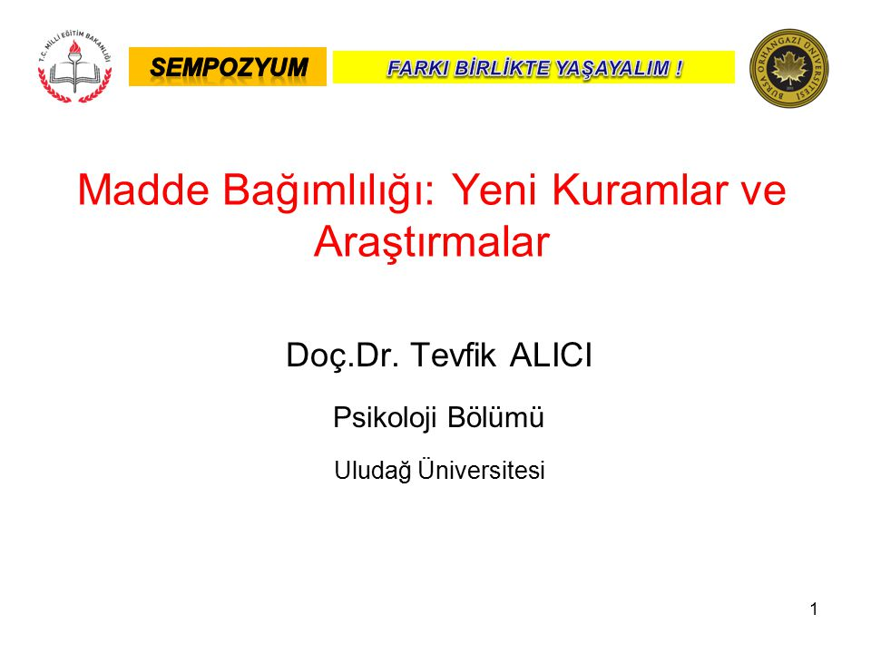 1 Doç.Dr. Tevfik ALICI Psikoloji Bölümü Uludağ Üniversitesi Madde Bağımlılığı: Yeni Kuramlar ve Araştırmalar
