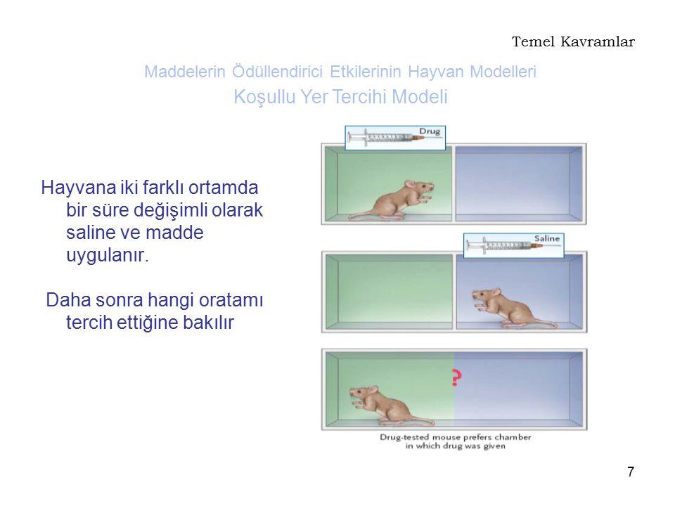 7 Temel Kavramlar Hayvana iki farklı ortamda bir süre değişimli olarak saline ve madde uygulanır. Daha sonra hangi oratamı tercih ettiğine bakılır Mad