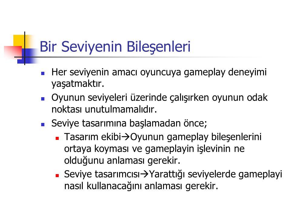Bir Seviyenin Bileşenleri Her seviyenin amacı oyuncuya gameplay deneyimi yaşatmaktır. Oyunun seviyeleri üzerinde çalışırken oyunun odak noktası unutul
