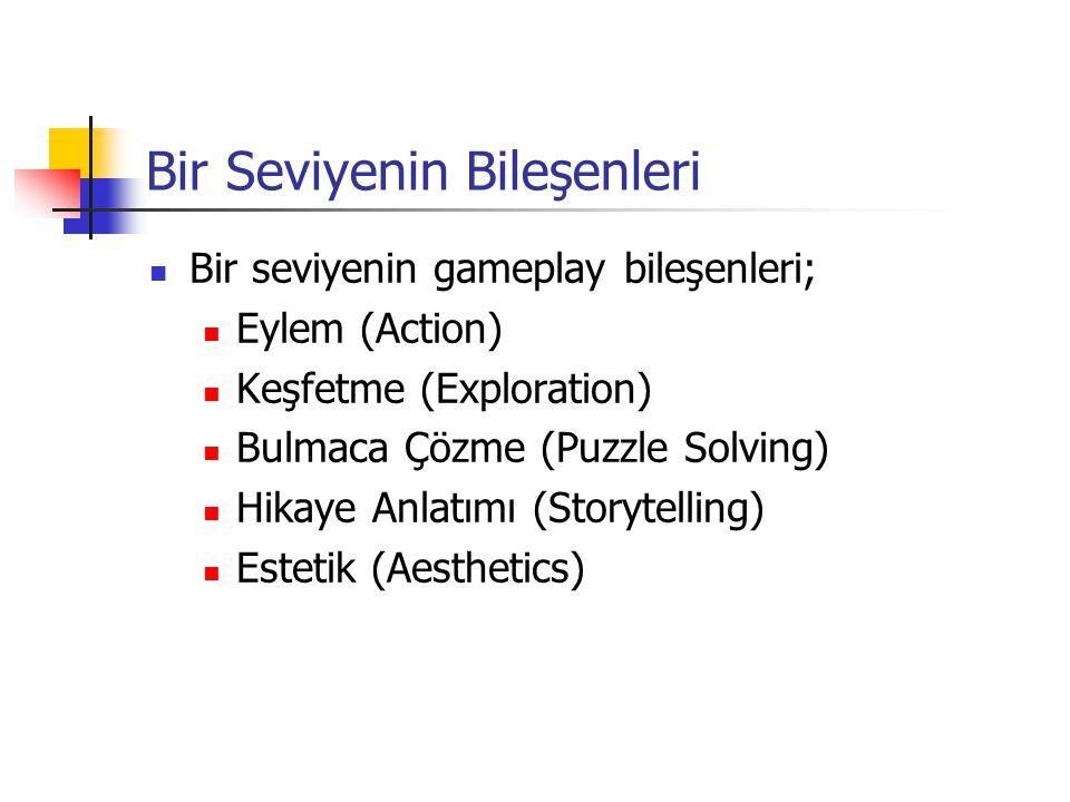 Bir Seviyenin Bileşenleri Bir seviyenin gameplay bileşenleri; Eylem (Action) Keşfetme (Exploration) Bulmaca Çözme (Puzzle Solving) Hikaye Anlatımı (Storytelling) Estetik (Aesthetics)