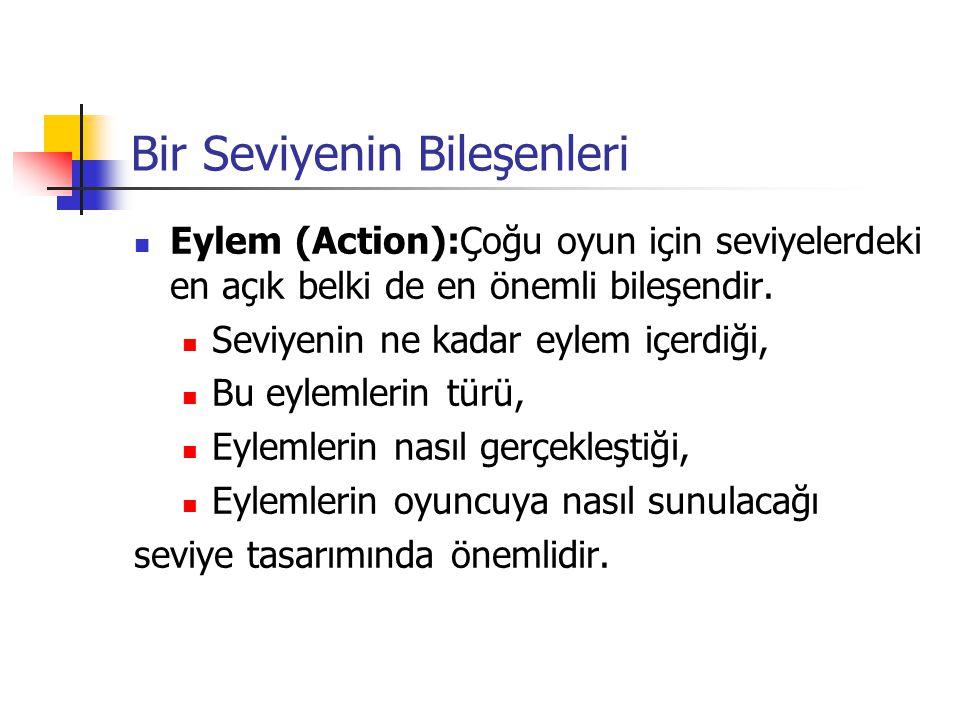 Bir Seviyenin Bileşenleri Eylem (Action):Çoğu oyun için seviyelerdeki en açık belki de en önemli bileşendir.