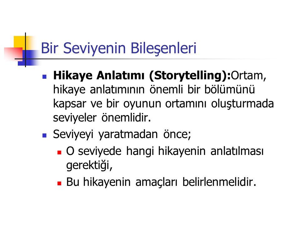 Bir Seviyenin Bileşenleri Hikaye Anlatımı (Storytelling):Ortam, hikaye anlatımının önemli bir bölümünü kapsar ve bir oyunun ortamını oluşturmada seviy