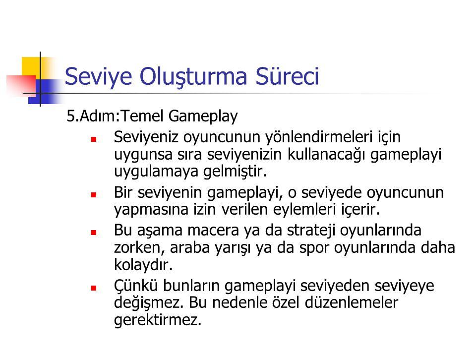 Seviye Oluşturma Süreci 5.Adım:Temel Gameplay Seviyeniz oyuncunun yönlendirmeleri için uygunsa sıra seviyenizin kullanacağı gameplayi uygulamaya gelmi