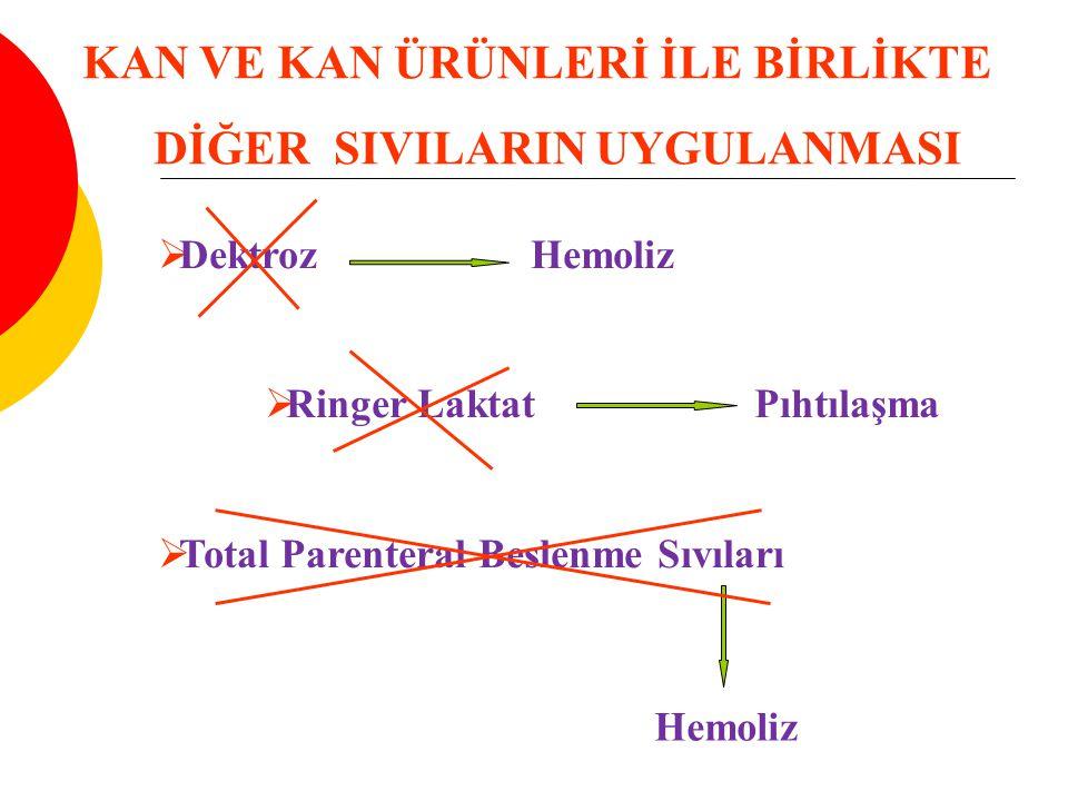  Dektroz Hemoliz  Ringer Laktat Pıhtılaşma  Total Parenteral Beslenme Sıvıları Hemoliz KAN VE KAN ÜRÜNLERİ İLE BİRLİKTE DİĞER SIVILARIN UYGULANMASI