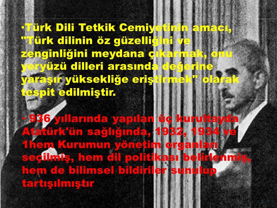 Türk Dili Tetkik Cemiyetinin amacı,