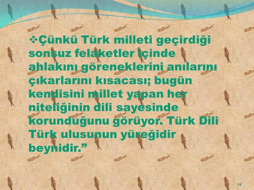  Çünkü Türk milleti geçirdiği sonsuz felaketler içinde ahlakını göreneklerini anılarını çıkarlarını kısacası; bugün kendisini millet yapan her niteli