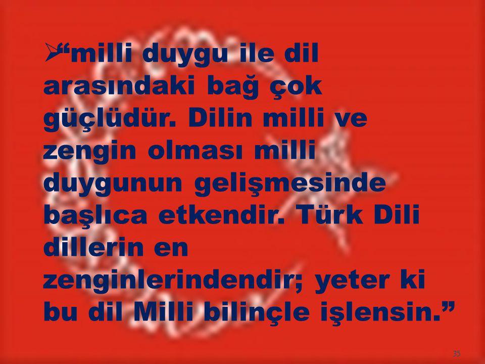 """ """"milli duygu ile dil arasındaki bağ çok güçlüdür. Dilin milli ve zengin olması milli duygunun gelişmesinde başlıca etkendir. Türk Dili dillerin en z"""