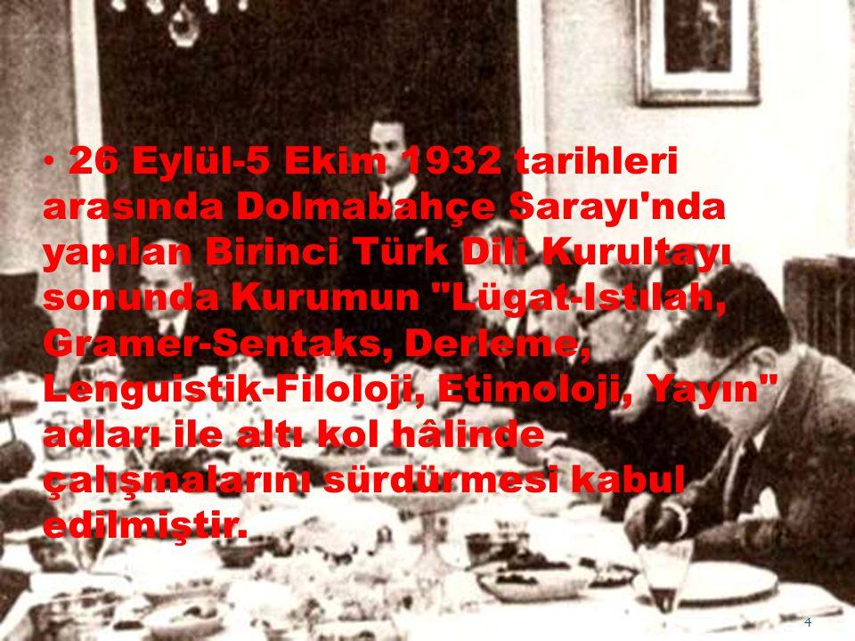 26 Eylül-5 Ekim 1932 tarihleri arasında Dolmabahçe Sarayı'nda yapılan Birinci Türk Dili Kurultayı sonunda Kurumun
