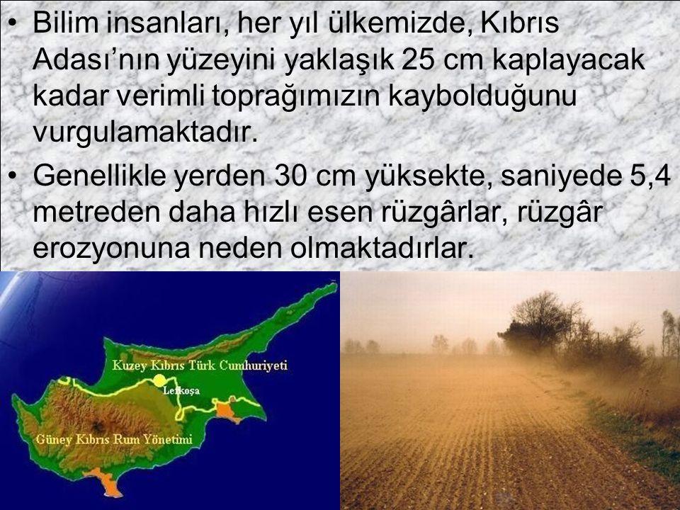 Bilim insanları, her yıl ülkemizde, Kıbrıs Adası'nın yüzeyini yaklaşık 25 cm kaplayacak kadar verimli toprağımızın kaybolduğunu vurgulamaktadır. Genel