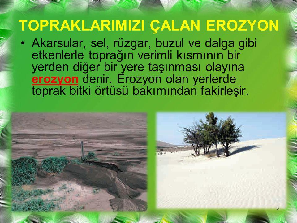 Bilim insanları, her yıl ülkemizde, Kıbrıs Adası'nın yüzeyini yaklaşık 25 cm kaplayacak kadar verimli toprağımızın kaybolduğunu vurgulamaktadır.
