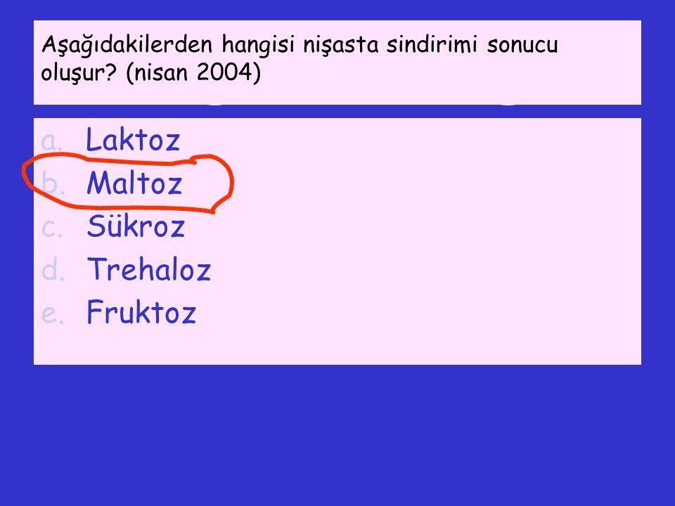 Aşağıdakilerden hangisi nişasta sindirimi sonucu oluşur? (nisan 2004) a.Laktoz b.Maltoz c.Sükroz d.Trehaloz e.Fruktoz