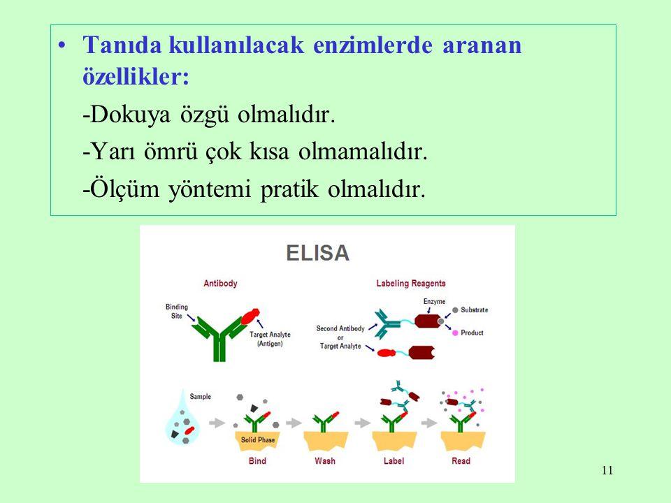 11 Tanıda kullanılacak enzimlerde aranan özellikler: -Dokuya özgü olmalıdır. -Yarı ömrü çok kısa olmamalıdır. -Ölçüm yöntemi pratik olmalıdır.