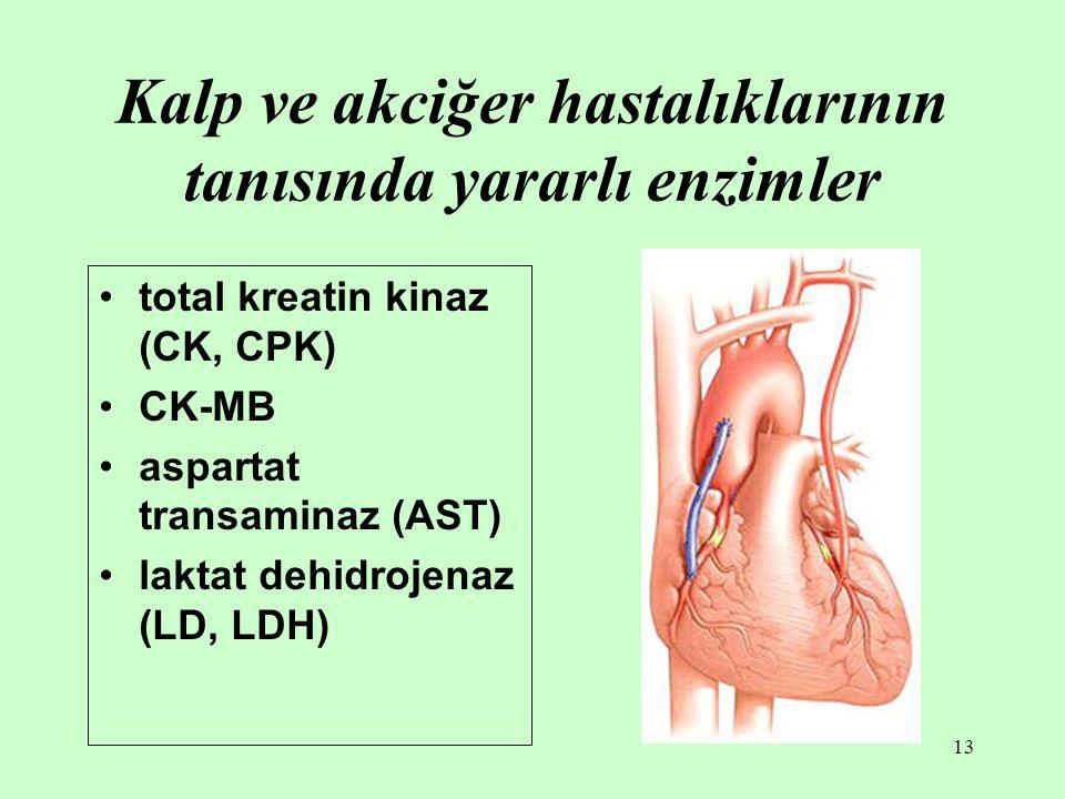 13 Kalp ve akciğer hastalıklarının tanısında yararlı enzimler total kreatin kinaz (CK, CPK) CK-MB aspartat transaminaz (AST) laktat dehidrojenaz (LD,