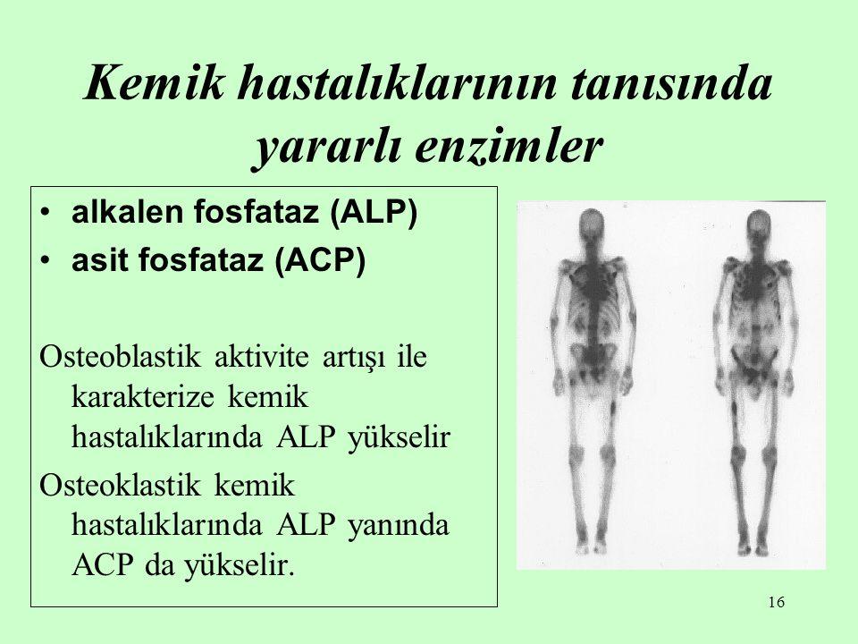 16 Kemik hastalıklarının tanısında yararlı enzimler alkalen fosfataz (ALP) asit fosfataz (ACP) Osteoblastik aktivite artışı ile karakterize kemik hast