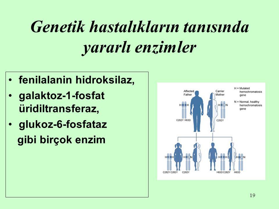 19 Genetik hastalıkların tanısında yararlı enzimler fenilalanin hidroksilaz, galaktoz-1-fosfat üridiltransferaz, glukoz-6-fosfataz gibi birçok enzim