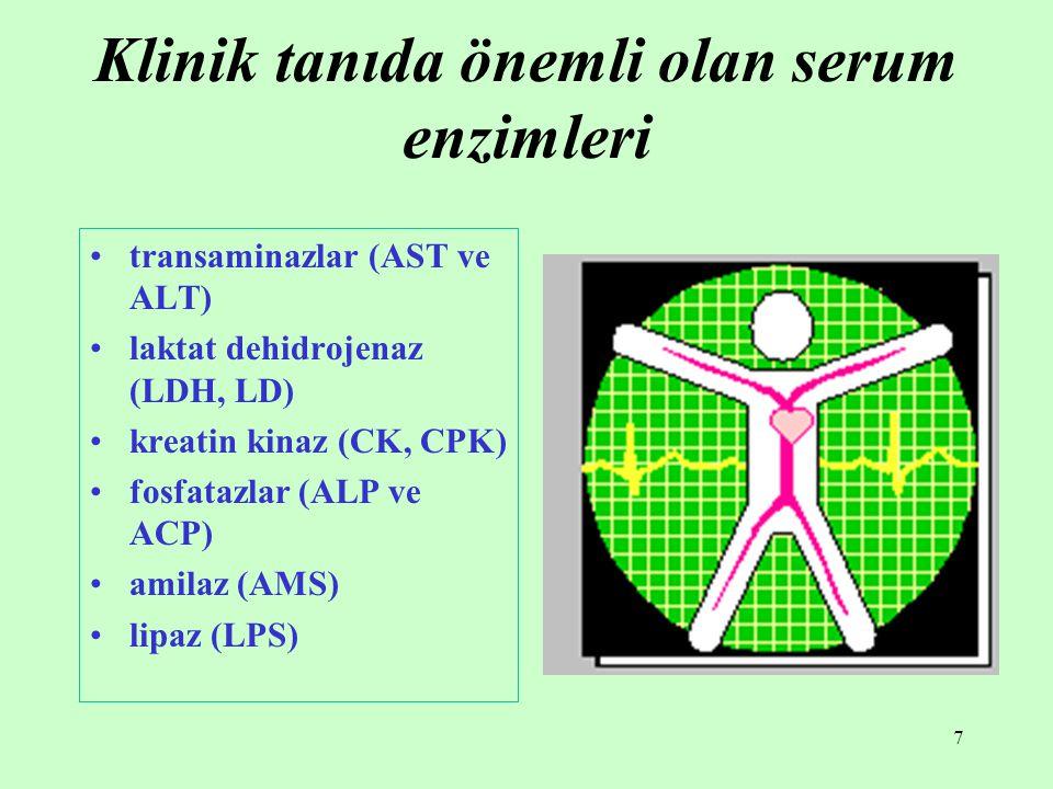 7 Klinik tanıda önemli olan serum enzimleri transaminazlar (AST ve ALT) laktat dehidrojenaz (LDH, LD) kreatin kinaz (CK, CPK) fosfatazlar (ALP ve ACP)