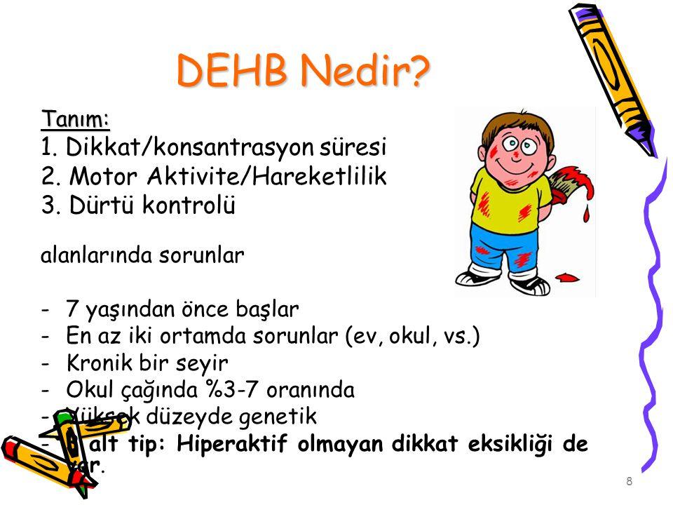 8 DEHB Nedir? Tanım: 1. Dikkat/konsantrasyon süresi 2. Motor Aktivite/Hareketlilik 3. Dürtü kontrolü alanlarında sorunlar -7 yaşından önce başlar -En