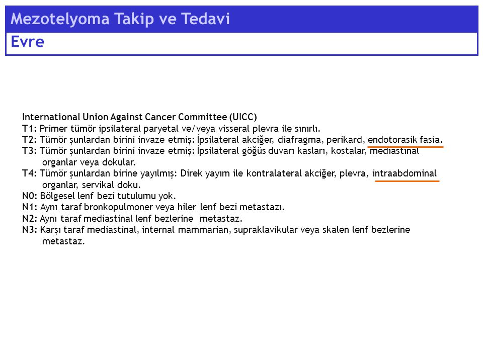 International Union Against Cancer Committee (UICC) T1: Primer tümör ipsilateral paryetal ve/veya visseral plevra ile sınırlı.
