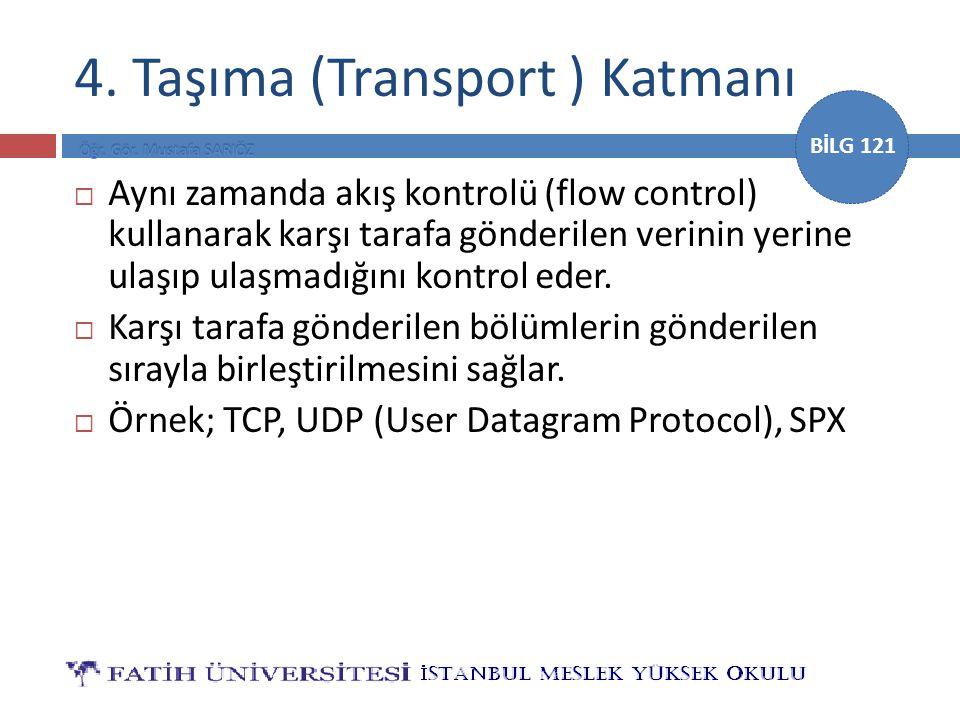 BİLG 121 4. Taşıma (Transport ) Katmanı  Aynı zamanda akış kontrolü (flow control) kullanarak karşı tarafa gönderilen verinin yerine ulaşıp ulaşmadığ