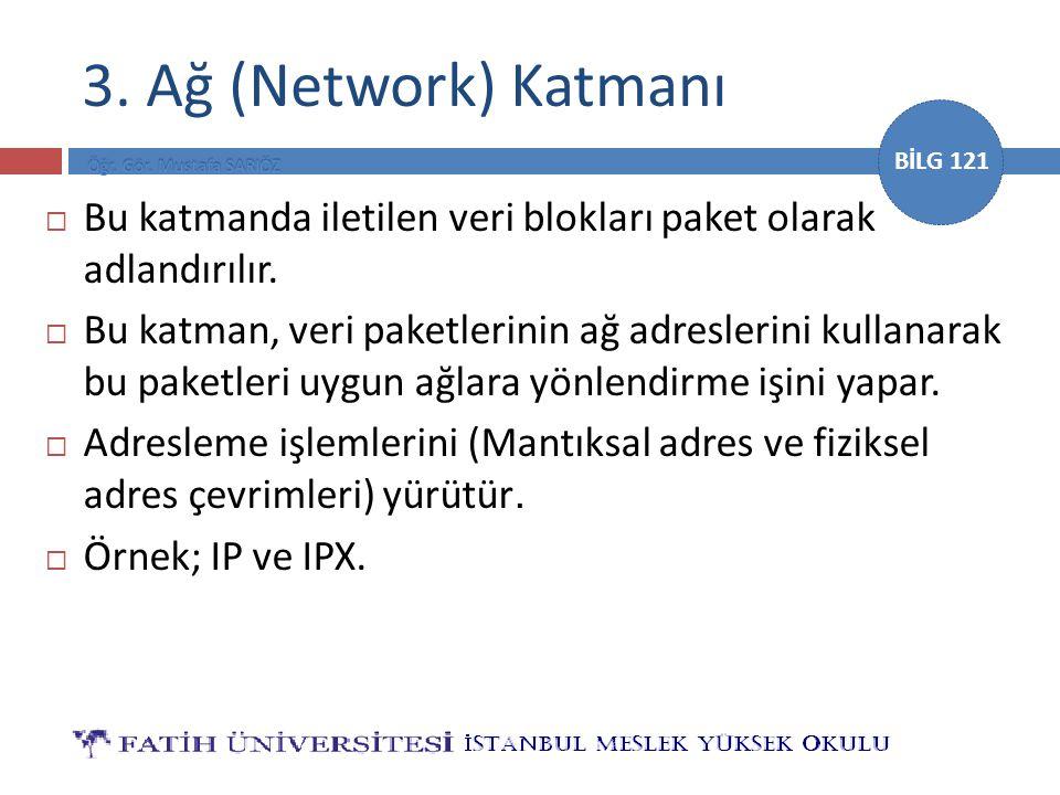 BİLG 121 3. Ağ (Network) Katmanı  Bu katmanda iletilen veri blokları paket olarak adlandırılır.  Bu katman, veri paketlerinin ağ adreslerini kullana
