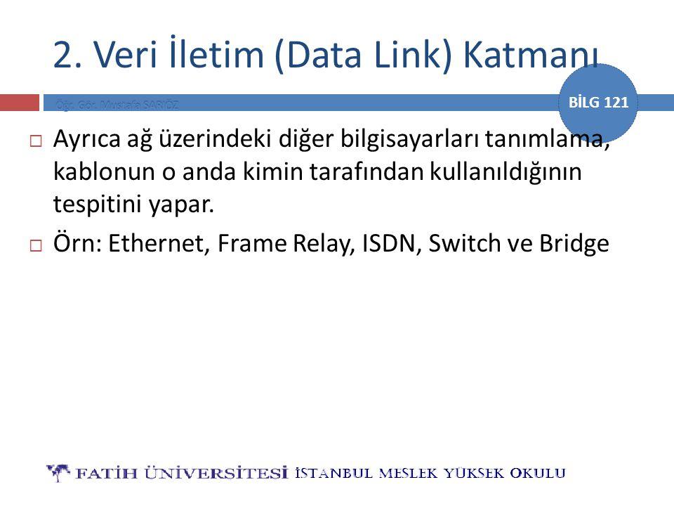 BİLG 121 2. Veri İletim (Data Link) Katmanı  Ayrıca ağ üzerindeki diğer bilgisayarları tanımlama, kablonun o anda kimin tarafından kullanıldığının te