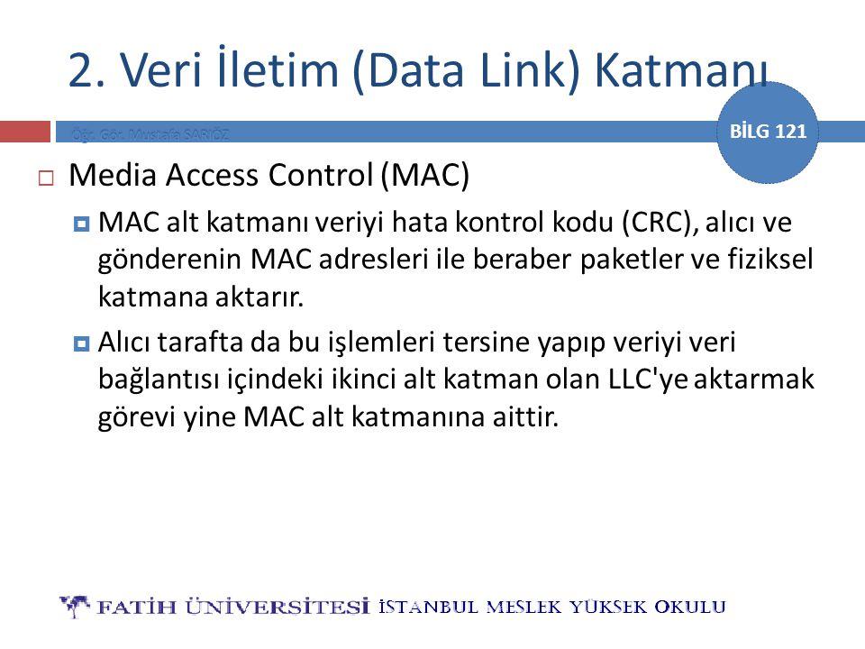 BİLG 121  Media Access Control (MAC)  MAC alt katmanı veriyi hata kontrol kodu (CRC), alıcı ve gönderenin MAC adresleri ile beraber paketler ve fizi