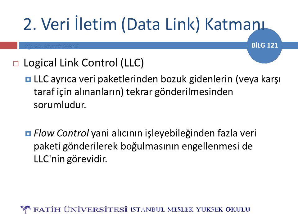 BİLG 121  Logical Link Control (LLC)  LLC ayrıca veri paketlerinden bozuk gidenlerin (veya karşı taraf için alınanların) tekrar gönderilmesinden sor