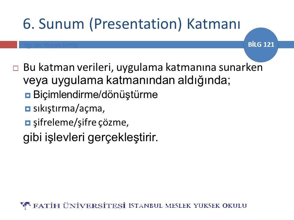 BİLG 121 6. Sunum (Presentation) Katmanı  Bu katman verileri, uygulama katmanına sunarken veya uygulama katmanından aldığında;  Biçimlendirme/dönüşt