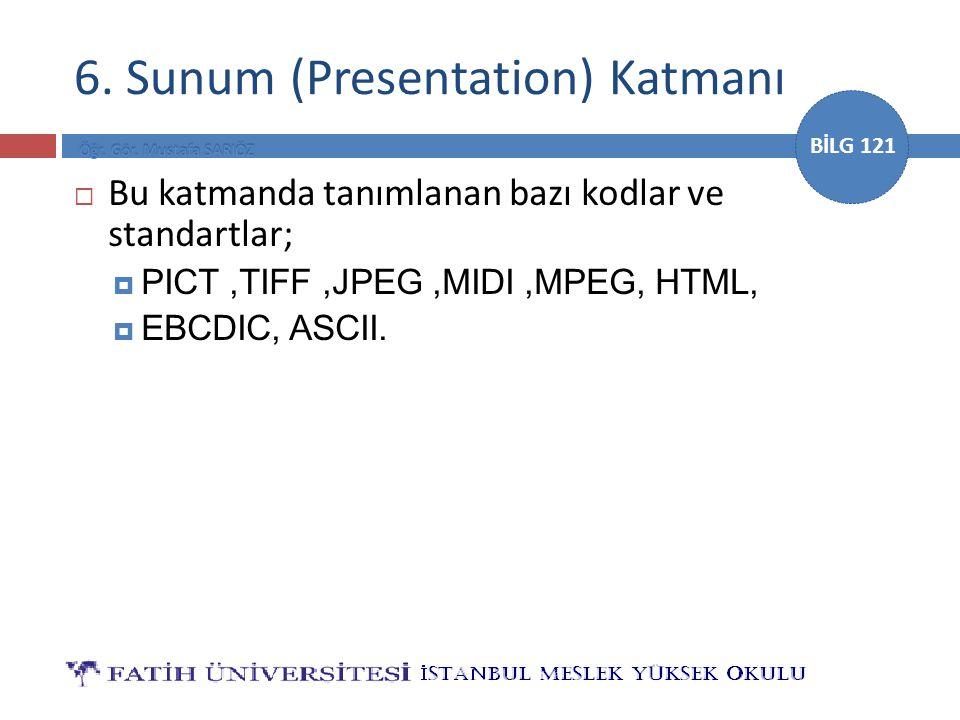 BİLG 121 6. Sunum (Presentation) Katmanı  Bu katmanda tanımlanan bazı kodlar ve standartlar;  PICT,TIFF,JPEG,MIDI,MPEG, HTML,  EBCDIC, ASCII.