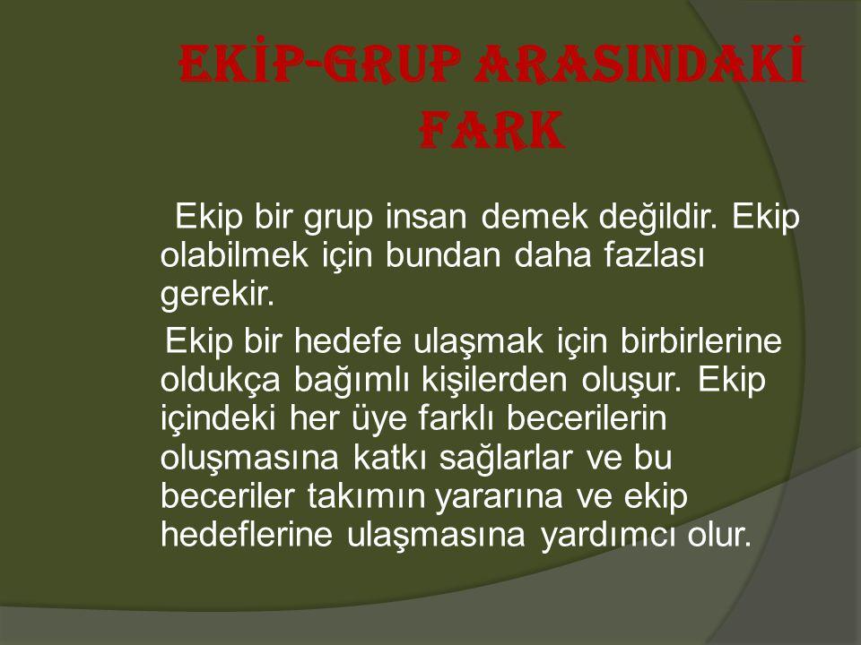 EK İ P-GRUP ARASINDAK İ FARK Ekip bir grup insan demek değildir.