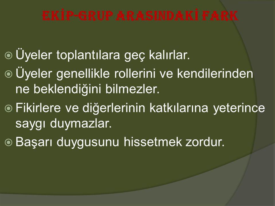 EK İ P-GRUP ARASINDAK İ FARK  Üyeler toplantılara geç kalırlar.