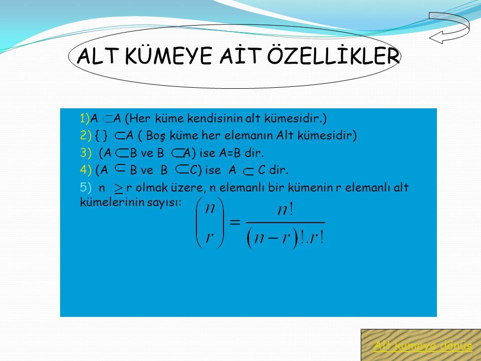 Bir A kümesinin bütün elemanları B kümesinin de elemanı ise A kümesine B kümesinin ALT KÜMESİ denir ve A B şeklinde gösterilir.Eğer A,B nin alt kümesi