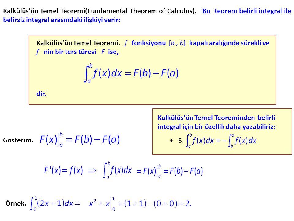 Kalkülüs'ün Temel Teoremi(Fundamental Theorem of Calculus). Bu teorem belirli integral ile belirsiz integral arasındaki ilişkiyi verir: dir. Gösterim.