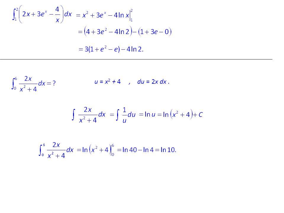 u = x2 x2 + 4, du = 2x dx.