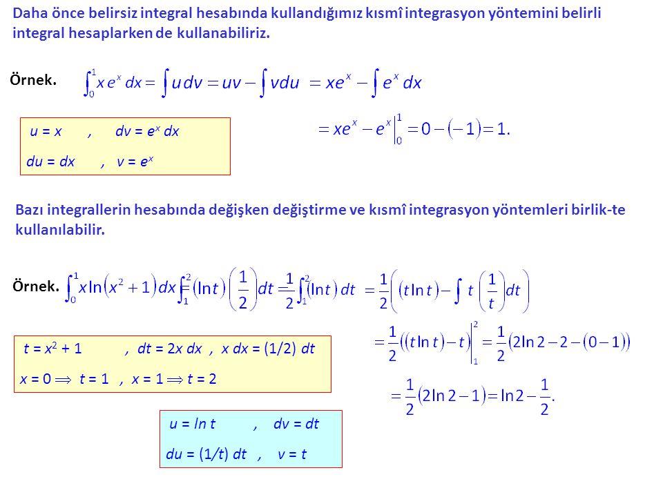 Daha önce belirsiz integral hesabında kullandığımız kısmî integrasyon yöntemini belirli integral hesaplarken de kullanabiliriz. Örnek. u = x, dv = ex