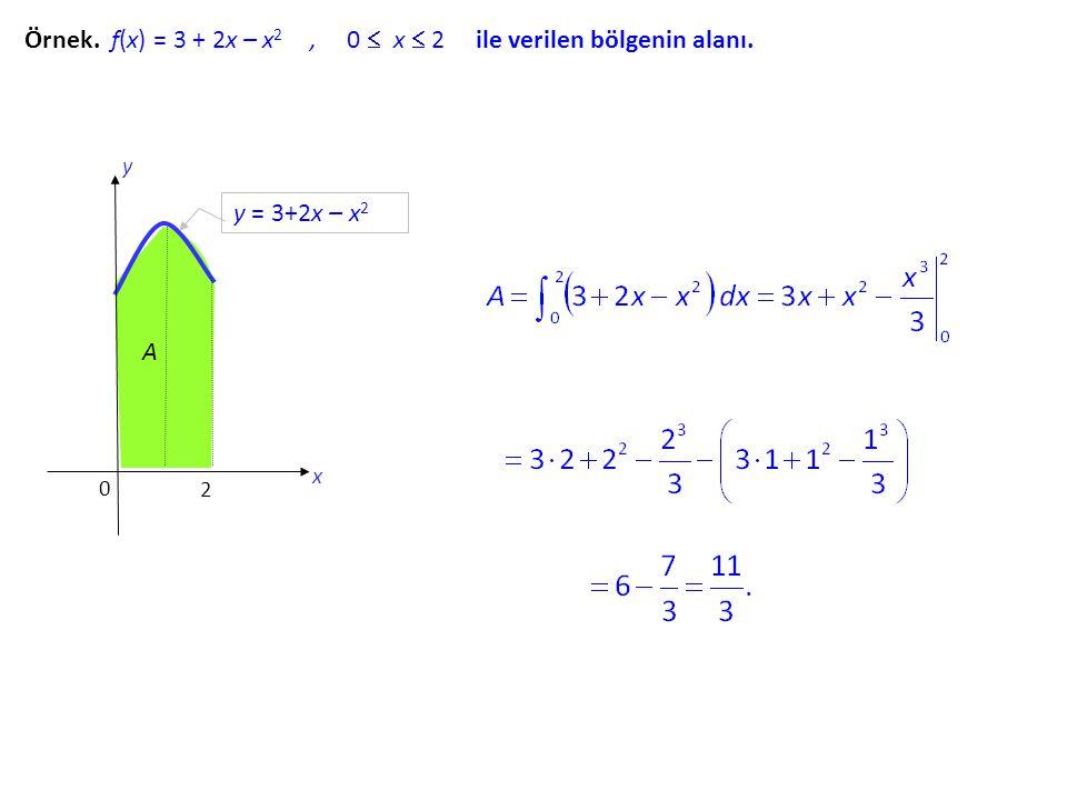 Örnek. f(x) = 3 + 2x – x 2, 0  x  2 ile verilen bölgenin alanı. y = 3+2x – x 2 2 A 0 x y